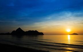 Picture sea, beach, summer, sunset, shore, silhouette, summer, beach, sea, sunset, seascape, beautiful, paradise, tropical