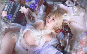 Picture girl, Anime, flower, art, cartoon, pose, Violet Evergarden
