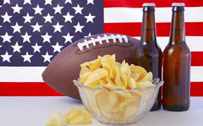 Picture background, the ball, beer, flag, Rugby, American football, vase, bottle, USA, America, chips