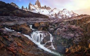 Picture Argentina, Los Glaciares National Park, Fitz Roy, River of the Waterfall