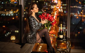 Picture flowers, night, lights, sexy, pose, model, glass, bottle, roses, bouquet, stockings, makeup, figure, dress, hairstyle, …