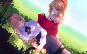 Picture Girls, Bear, Glade, The saber, Crossover, Fate / Stay Night, Fate / Grand Order