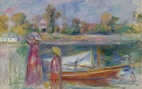 Picture landscape, boat, picture, 1896, Pierre Auguste Renoir, Pierre Auguste Renoir, Young girls in Argenteuil