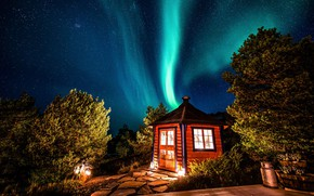 Picture forest, trees, landscape, night, house, stars, Northern lights, Norway, house, forest, landscape, night, tree