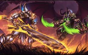 Picture Armor, Sword, Wings, Elves, Battle, WoW, Fantasy, Blizzard, Elf, Art, Night Elf, WarCraft, Illustration, Demon …