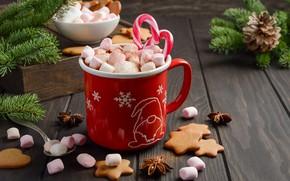 Picture decoration, New Year, Christmas, mug, Christmas, cup, New Year, cocoa, decoration, xmas, Merry, hot chocolate, …