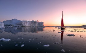 Picture sea, sunset, boat, ice, sail