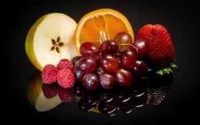 Picture berries, raspberry, Apple, orange, strawberry, grapes, fruit, black background
