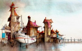 Picture boat, figure, houses
