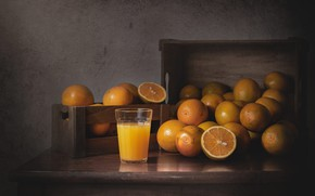 Picture glass, the dark background, table, Board, oranges, juice, boxes, still life, items, a lot, composition, …