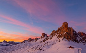 Picture winter, the sky, snow, mountains, house, rocks, the slopes, tops, view, height, house, in the …