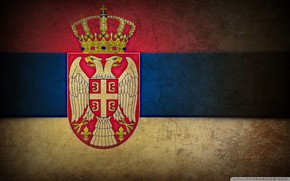Picture crown, shield, Serbia, fissure damages