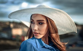 Picture girl, face, portrait, hat, Andrew Stankūnas