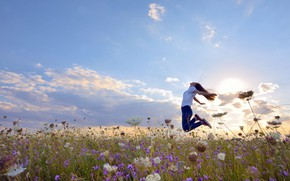 Picture field, summer, the sky, girl, the sun, clouds, light, joy, happiness, flowers, pose, emotions, mood, …