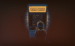 Picture Minimalism, Boy, The game, Background, Pacman, Pac-Man, Nostalgia, Slot machine, Arcade
