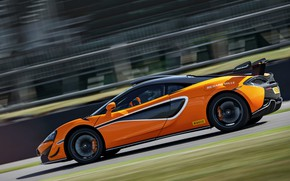 Picture coupe, McLaren, side, on the track, 2020, V8 twin-turbo, 620R, 620 HP, 3.8 L.