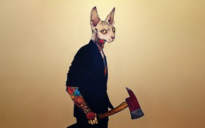 Picture Minimalism, Cat, Style, Axe, Background, Tattoo, Art, Tattoo, Art, Style, Cat, Background, Animal, Minimalism, Tattoo, …