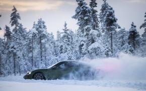 Picture snow, Porsche, green, side, snow dust, 2020, Taycan, Taycan 4S