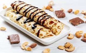 Picture chocolate, nuts, pancakes, cakes, pancakes