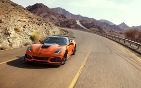 Picture orange, Corvette, Chevrolet, ZR1, front view, 2019