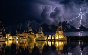 Wallpaper night, lightning, yachts