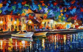 Picture the evening, promenade, Leonid Afremov, impressionism