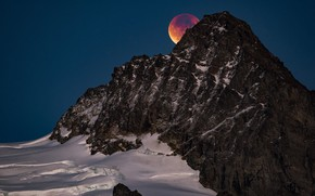 Picture the sky, snow, mountains, nature, rocks, the moon