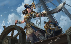 Picture Girl, Cat, Ship, Girl, Day, Pirate, Red, Art, Art, Red, Pirates, Cat, Illustration, Redhead, Saber, …