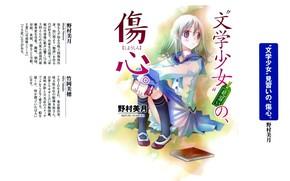 Picture text, characters, book, schoolgirl, knee, white hair, sailor, Bungaku Shoujo, by Miho Takeoka, Nano Hinosaka