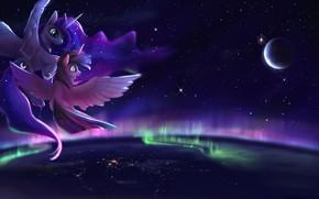 Wallpaper joy, planet, Northern lights, mother and child, glory nights, glory of the night, fandom pony