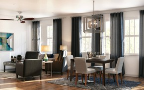 Picture interior, living room, dining room