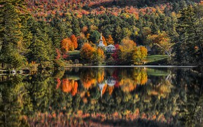 Picture autumn, forest, reflection, river, Church