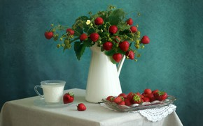 Picture berries, table, bouquet, milk, strawberry, mug, Cup, pitcher, still life
