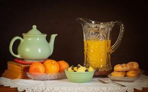 Picture cookies, juice, still life, citrus