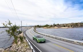 Picture road, lake, Porsche, Turbo S, 2020, Taycan
