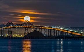 Picture water, night, bridge, the moon, CA, Bay, California, San Francisco Bay, The Bay Of San …