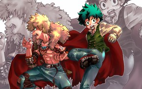 Picture guys, My Hero Academia, Boku No Hero Academy, Midori Isuku, My Hero Academy, Bakuga Katsuki