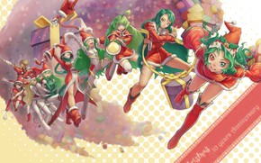 Picture emotions, boots, gifts, Christmas, green hair, girls, different eyes, the Santa hat, the Santa suit