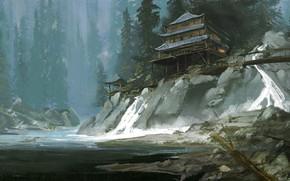 Picture Figure, River, House, Painting, Art, Illustration, Jinheng LI, by Jinheng LI, Richard Schmid, Years