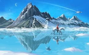 Picture Winter, Mountains, Horse, Snow, Ice, Cowboy, Fur, Ice, Art, Art, Spaceship, Winter, Snow, Fiction, Fiction, …