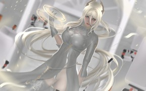 Picture girl, rendering, dress, cyborg, nier, automata, YoRHa commander
