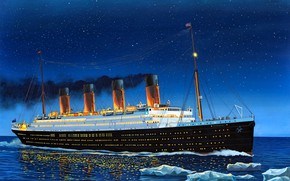 """Picture Night, Ice, UK, Transatlantic steamer, """"Titanic"""", The second ship of the class """"Olympic"""""""