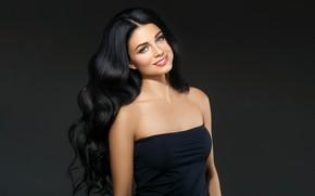 Picture look, girl, face, smile, model, makeup, brunette, hairstyle, blue eyes, Beautiful, photoshoot, brunette, Ryabusjkina Irina