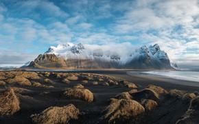 Wallpaper Nature, Clouds, Sea, Mountains, Snow, Landscape