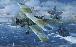 Picture sea, attack, ships, picture, dogfight, Focke-Wulf, Fairey Swordfish, FW-190, Royal Navy, gunner, Phillip West