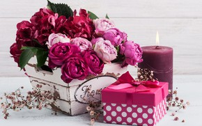Picture flowers, gift, roses, hydrangea, THE OFF