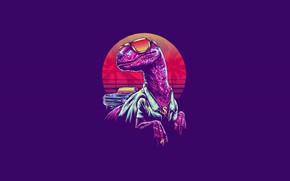 Picture Minimalism, Glasses, Dinosaur, Art, Neon, Velociraptor, 80's, Synth, Retrowave, Synthwave, New Retro Wave, Sintav, VelociRaptor