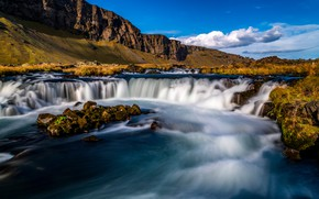 Picture autumn, the sky, clouds, light, mountains, blue, rocks, shore, for, the slopes, waterfall, stream, waterfalls, …