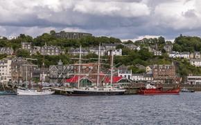 Picture home, ships, pier, Scotland