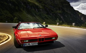Picture red, movement, turn, BMW, BMW M1, E26, M1